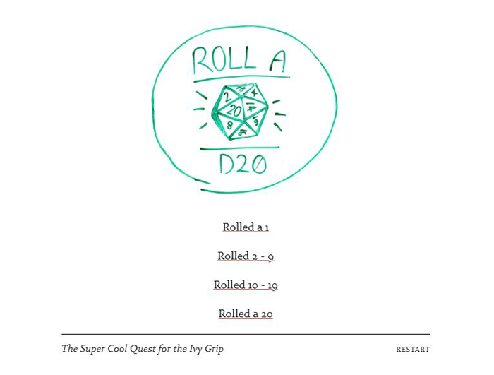 "Screenshot of game with ""Roll a D20"""